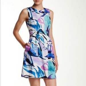Vince Camuto Printed Sleeveless Flare Dress (NWT)